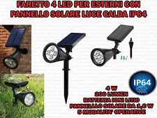FARETTO 4 LED GIARDINO PARETE PANNELLO SOLARE SENSORE CREPUSCOLARE LUCE CALDA