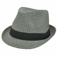 Small Medium Gray Black Weave Pattern Ribbon Fedora Trilby Stetson Homburg Hat