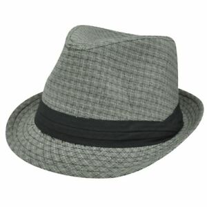 Small Medium Gray Black Weave Pattern Ribbon Fedora Trilby Stetson Homburg Hat