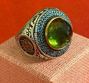 AntiqueOttoman  Aquamarine & Turquoise Ring Men Sterling Silver 925