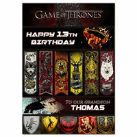 g018; Large personalised BIRTHDAY CARD printed with your text; Game of Thrones