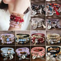 4Pcs/Set Boho Crystal Beaded Beads Chain Cuff Bohemia Bracelets Set Bangle Gift