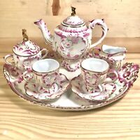 Vintage Royal Vienna Tea Set Pink Roses Floral, Footed, Hand Painted Gold Tone