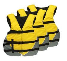 Universal Adult Life Vest Flotation USCG Ski Jacket PFD Bright Yellow - 3 PACK