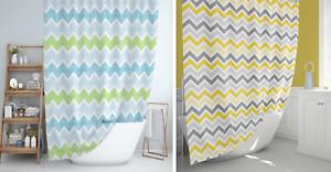 Narrow Width Fabric Shower Curtain ZigZag Pattern, 90cm Wide by 190cm Drop