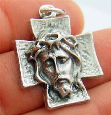 "MRT Face Of Jesus Ecce Homo Cross Oxidized Silver Medal Pendant 1"" Italian Gift"