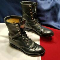 Womens Justin Blue Leather Lace Kiltie Roper Cowboy Boots Sz 7 B Style L504 US