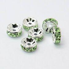 10 x 6mm Rhinestone Brass Green Spacer Beads