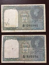 1940 BRITISH INDIA 1 RUPEE NOTES - GEORGE VI - 2 Notes Total - Good condition