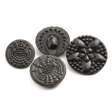 12 Lot Vintage Czech imitation marcasite flower black glass buttons 18mm