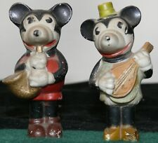 ANTIQUE 1930'S MICKEY AND MINNIE MOUSE BISQUE JAZZ PLAYERS SAXOPHONE MANDOLIN