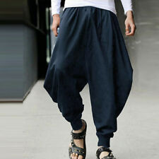 Men Retro Casual Harem Japanese Pants Hakama Hippie Yoga Baggy Aladdin Trousers