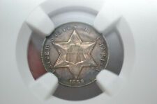 1859 Three Cent Silver- NGC UNC Details.  Cleaned.  Attractive Toning.