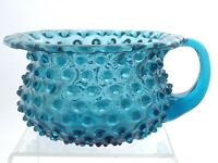 Hand Blown Blue Hobnail Glass Applied Handle Planter Candy Dish Bowl Q831