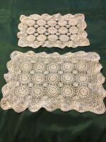 2 vintage rectangular doilies Ivory dresser scarves  crocheted Cotton
