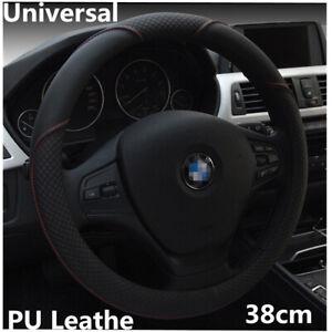 1Pcs 15in 38cm Black PU Leather Car Steering Wheel Cover Cap Anti-slip Universal