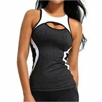 COLO Women Yoga Tank Top Workout Tops Open Back Racerback, Grey, Size X-Large JV