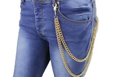 Men Gold Metal Wallet Chains Keychain Biker Links Jeans Biker Trucker 2 Strands
