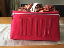 Large Christian Dior VIP Red Velvet Clutch Purse cosmetic make up bag new In Box