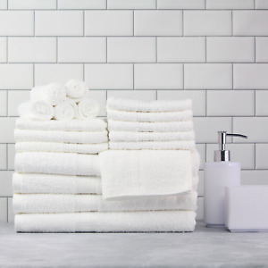 Mainstays Basic Solid 18-Piece Bath Set, White