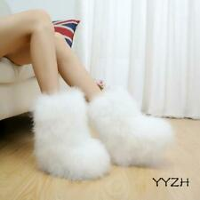 Womens' Ankle Boots Ostrich Furry Fur Ling Warm Snow Boots Pull On Comfort Shoes