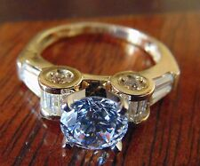 1.36ct Trellis Solid 14KYellow Gold Man made Diamond Engagement Ring 4 5 6 7 8 9