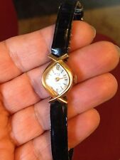 VINTAGE  GOLD PLATED PASSERELLE LADIES  SMALL WIND UP WATCH LEATHER BAND