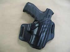 Walther PPQ M1/M2 9mm / .40 Leather 2 Slot Molded Pancake Belt Holster BLACK RH