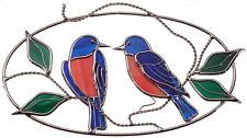 Stain Glass Bluebirds on a Wire Oval Ring