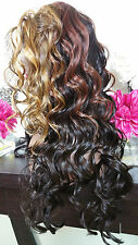 Beautiful Blonde, Burgandy, Black Lace Front Wig Long Curly Heat Safe