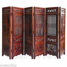 Rosewood Wood Chinese Pattern Folding Screen Divider 1/6 Scale Doll's Furniture