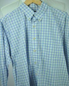 BURBERRY London Blue & Yellow Plaid Button-Front Shirt Large / XL