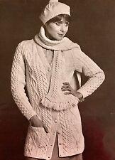 FL69 - Vintage Knitting Pattern - Aran Tam O'Shanter Hat, Scarf & Cardigan