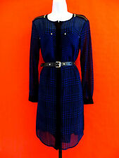 MICHAEL  KORS  BLUE / BLACK  SHIRT DRESS with BELT size  L