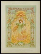 MULIER, L'AUTOMNE, ART NOUVEAU -1900- LITHOGRAPHIE, CHRYSANTHEME, VIGNE, BEGONIA