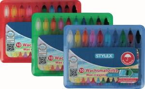 STYLEX 10 Wachsmalstifte wasserfest Wachsmaler Wachsmalkreide Wachs Stifte