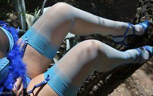 2pr/pk Christian Dior Stockings Ultra Sheer SANDALFOOT #1443,AQUA 8-1/2-9-S NEW!