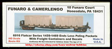 Funaro F&C 6916  NATIONAL CAR CO. 52' Flatcar   w/ FREIGHT CONTAINER Crates  Kit