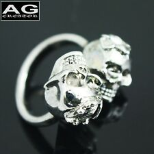 Double skulls cubic ring size 10