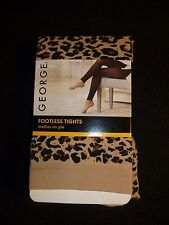 George Footless Tights Leopard Prints Smooth Invisible Seams Size 2  New