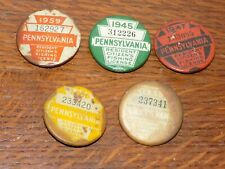 Vintage Set of Five Pa Fishing License Buttons