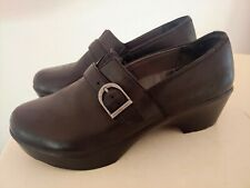 Dansko Mary Jane Strap Leather Clogs Shoes Size 36 Black Slip-On Women's