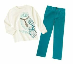NWT Gymboree Outfit ANIMAL PARTY Owl Long Sleeve Tee,Turquoise Pants,Size 5