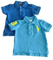 2 Polos By Ralph Lauren Infant Toddler 12 Month Shirts Blue Lot Big Pony