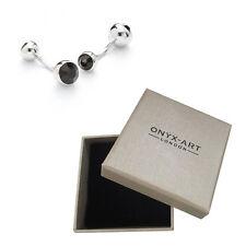 Mens Jet Black Crystal Fashion Cufflinks & Gift Box By Onyx Art