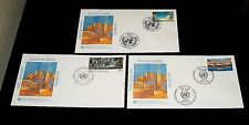 U.N. 1989-1990, Definitive Issue Singles On Fdcs, All 3 Offices ,Nice! Lqqk!