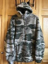 Cabela's Berber Fleece Hooded WindStopper Pullover Outfitter Camo Large Tall LT