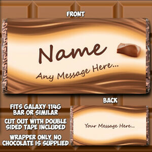 Chocolate Bar Wrapper Personalised fits Galaxy Birthday Father's Day idea Dad