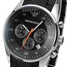 New EMPORIO ARMANI Mens Watch SPORTIVO Black Silicone Silver Chronograph AR5858