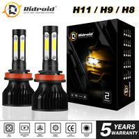 Ridroid H11 LED Headlight Kit Low Beam Bulb Super Bright 6000K H9 H8 Fog Lights